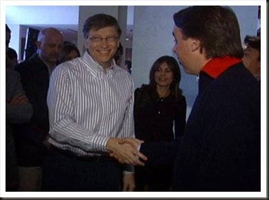 Bill Gates y Emilio Azcarraga durante su reunión en el Aniversario de Microsoft México